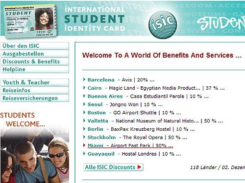 Die ISIC-Webseite (2. Dez. 08)
