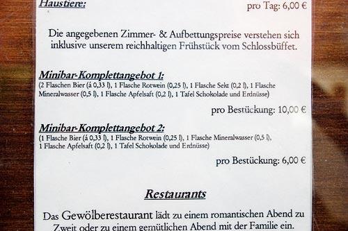 Das Minibar-Angebot im Schlosshotel Klaffenbach